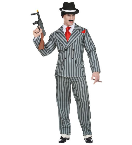 Adults Gangster - Grey Costume Fancy Dress